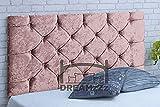 DREAMZZZ Elegante estructura de cama para cabecero, cama doble, tamaño queen, terciopelo aplastado con diamantes. Cabecero más barato para muebles de diván de 24 pulgadas (rosa, 122 m)
