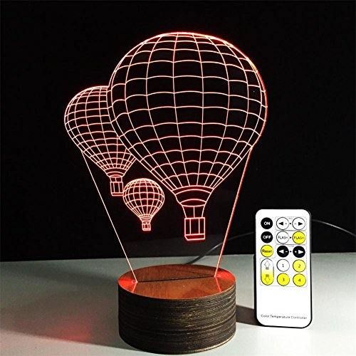 Veilleuses Illusions Optiques ballon à air chaud de la lampe de bureau 3d 7 couleurs Changement tactile interrupteur à distance Tableau de commande LED Night Light Lighting Décoration Accessoires pour la maison