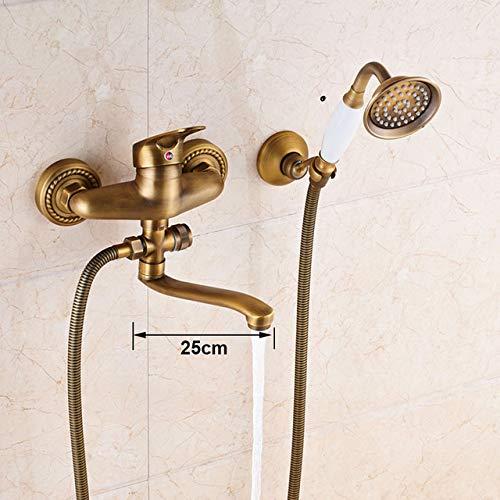 G0000D - Grifo de latón antiguo estilo teléfono de baño de cerámica de ducha conjunto de grifo de ducha de baño de agua caliente y fría 30 cm de rotación de la boquilla, calidad superior y envío gratis