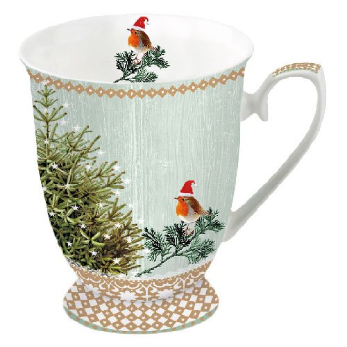 Portmeirion Ambiente Taza de Navidad Little Robins & Christmas Tree Mug 0.25L Fine Bone China