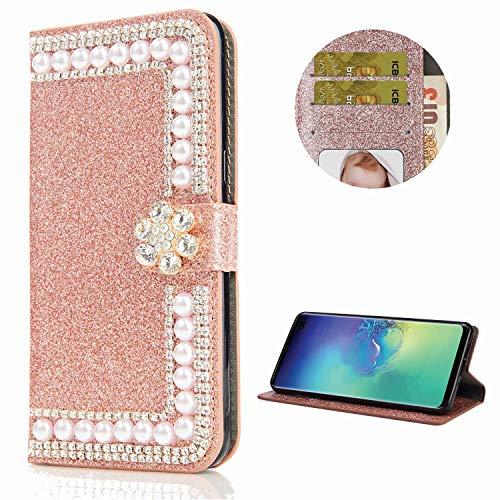 Miagon Hülle Glitzer für Samsung Galaxy A51,Diamant Strass Perle Blume PU Leder Handyhülle Ständer Funktion Schutzhülle Brieftasche Cover,Roségold