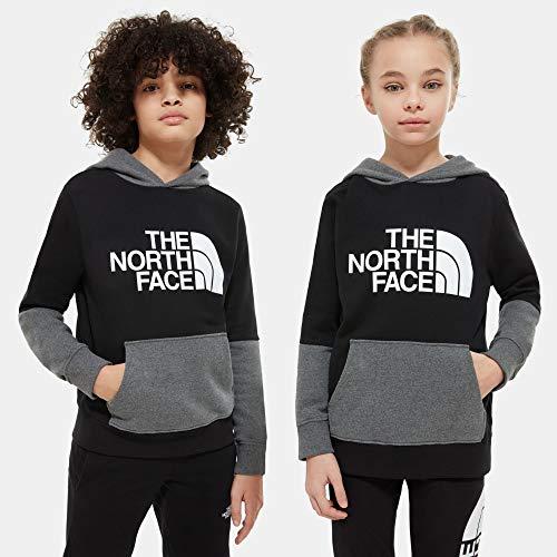The North Face Felpa Leggera Bambini Drew Peak con Cappuccio E Design A Blocchi di Colore (S, Black/Grey)