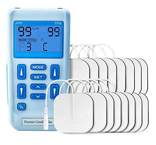 Dispositivo TENS combinado con estimulador muscular El Premier Plus simple Tens recargable de dos canales dispone de 30 programas preestablecidos para aliviar el dolor y la deformación muscular.