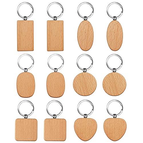 Schlüsselanhänger 12 Stück Holz Blanko Schlüsselanhänger DIY Personalisierter Holz Schlüsselbund, 6 Verschiedene Formen