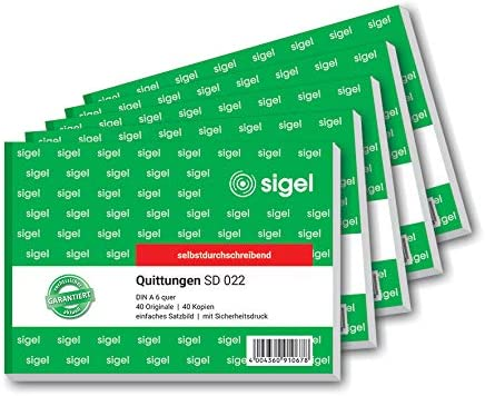 Sigel SD022 Receipt Pad Tamperproof A6 Landscape 2x40 Sheets SelfCotrifying 5 piece