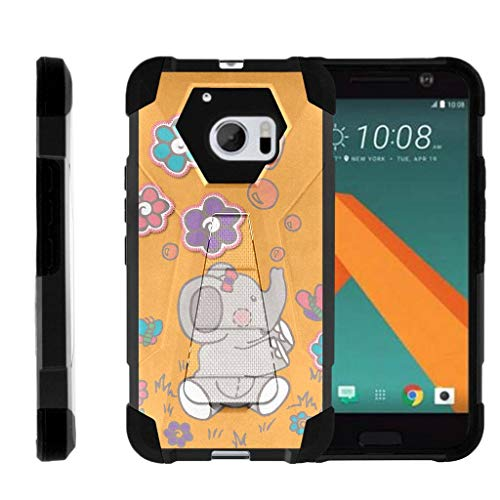 Compatible with HTC 10 Case | One M10 Case | HTC 10 Lifestyle [Dynamic Shell] Duo Protection Hybrid Case Impact Cover Hard Kickstand by TurtleArmor - Playful Elephant