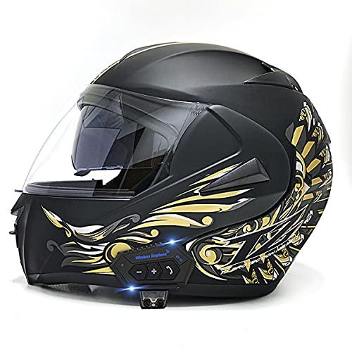 YALIXING Casco Moto Integral ECE/Dot Homologado Casco de Moto Scooter con Doble Visera Cascos Modular Flip Up Motocicleta Transpirable Y Cómodo para Mujer Hombre Adultos(Size:L(59-60CM),Color:A-1)