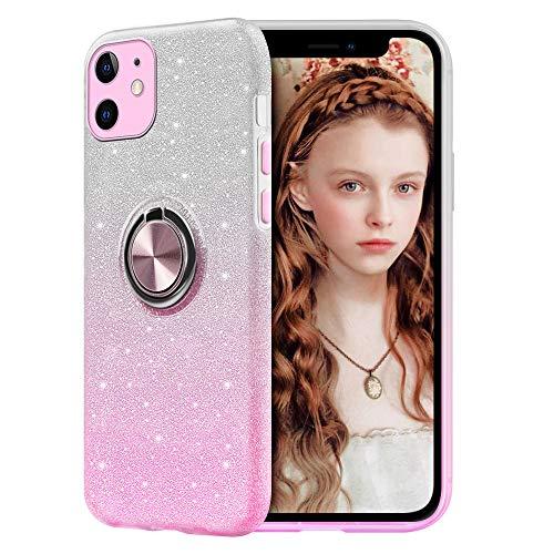 RosyHeart Glitter Cover Compatibile con iPhone 12 (6.1') con Supporto, Bling Cristallo Scintillante Silicone TPU Custodia, Brillantini Crystal Supporto Ring Protettiva Case - Rosa Sfumato