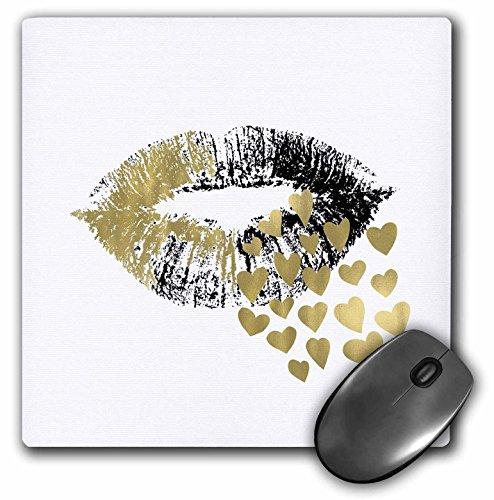 3dRose mp_271030_1 muismat, motief gouden harten kuss, 20,3 cm, meerkleurig