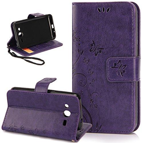 Galaxy Ace 4 Case,NSSTAR Butterfly Flower Flip PU Leather Fold Wallet Pouch...