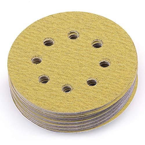 LotFancy 5-Inch 8-Hole 80 Grit Dustless Hook-and-Loop Sanding Disc Sander Paper, Pack of 100