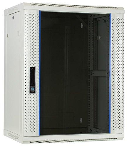 15 HE Serverschrank, Wandgehäuse, mit Glastür, Weiß, (BxTxH) 600 x 450 x 770mm