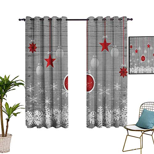 Anyangeight Red Holiday Star Ornaments and Snowflake & Gray Christmas by Wide Blackout Curtains Super Heavy-Duty Blackout Curtains for Living Room and Bedroom 42'x63'