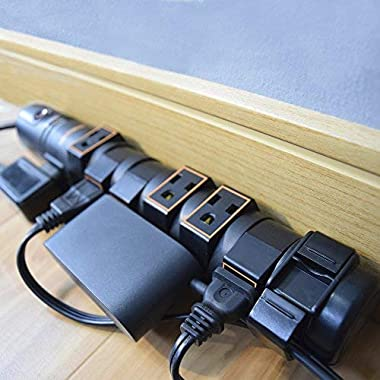 ECHOGEAR Power Strip Surge Protector with 8 Rotating-Outlets, Cable Management, Flat Plug & Fireproof Technology -2160 Joules of Surge Protection -Expand Your Outlet Capacity & Keep Your Gear Safe
