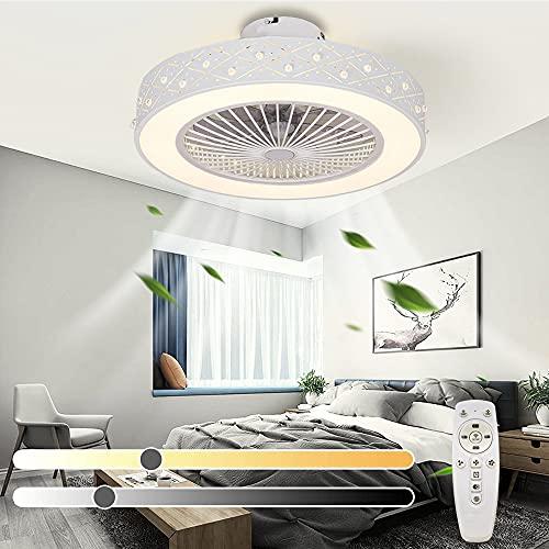 Ventilador de techo LED moderno con luz de techo regulable con ventilador silencioso Control remoto y APP y temporizador Velocidad del viento ajustable Lámpara de ventilador de techo invisible