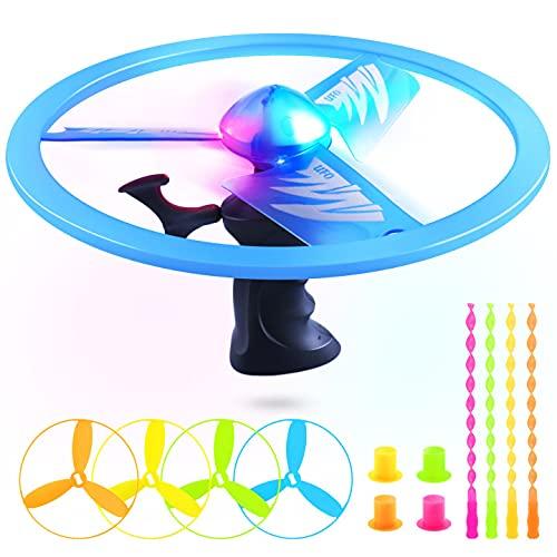 WisToyz LED Lichter Propellerspiel Power Spin und 4PCS Propellerspiel Twirly, Propeller Fliegende Flugkreisel Spiel für Kinder ab 6 Jahre, Flugspiel für Kinder Party Mitgebsel outdoor garten spielzeug