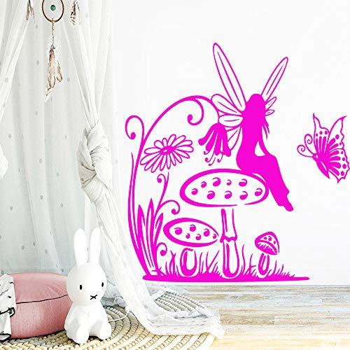 Schmetterling Mädchen Wandaufkleber Wohnmöbel Dekorativ für Wohnzimmer Schlafzimmer Aufkleber PURPLE XL 57cm X 69cm