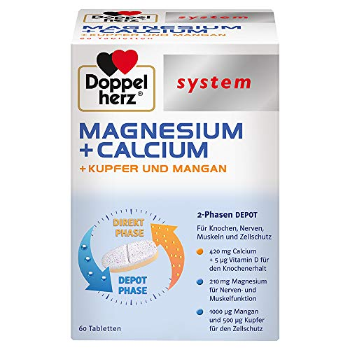 Doppelherz system MAGNESIUM + CALCIUM DEPOT – Magnesium als Beitrag für die normale Funktion der Muskeln und Nerven – Depot-Tabletten mit dem 2-Phasen-Effekt – 60 Tabletten