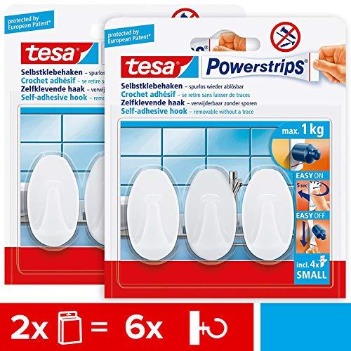tesa 57533 Powerstrips - Ganchos de pared (2 unidades, autoadhesivos, para vidrio, azulejos, madera, plástico y otras superficies), color blanco