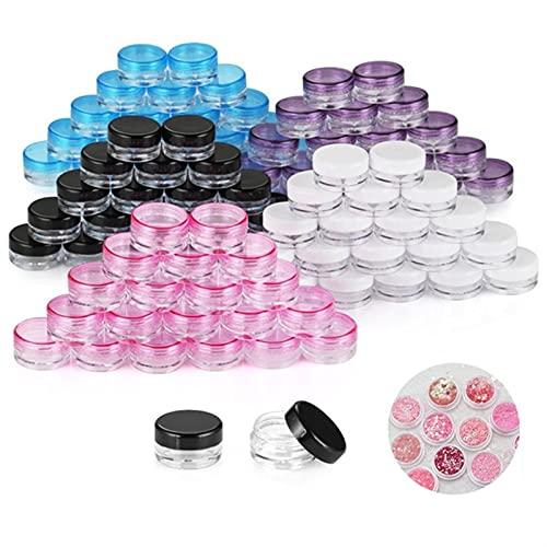 10 botes de almacenamiento vacíos de 5 g con tapa, tarros de cosméticos botella de plástico transparente para maquillar uñas, joyas, belleza, hogar, cocina, tarros de plástico (color: blanco)