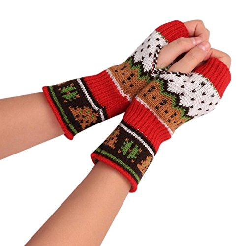 Armfer-household supply Women Half Finger Winter Gloves Christmas Elements Ugly Sweater Knitted Fingerless Hand Warmer Themal Mitten Gloves Best Gift for Girls Lady Merry Xmas Holiday Birthday