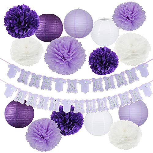 Elephant Purple Lavender Baby Shower Decorations It's A Girl Baby Shower Banner of Purple and Silver Color with Tissue Pom Poms Girl Baby Birthday Decor Purple Silver Baby Shower Decor