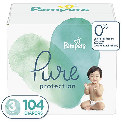 Diapers Size 3, 104 Count - Pampers Pure Protection Disposable Baby Diapers, Hypoallergenic and Unscented Protection, Enormous Pack (Old Version)