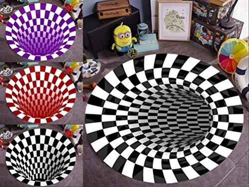Living Artist Area Rug Floor Mat,3D Buffalo Plaid Rug Black and White Plaid Rugs Shaggy Fluffy Anti-Skid Area 3D Rug Dining Room Carpet Home Bedroom Floor Rug Style3 5 Feet Diameter