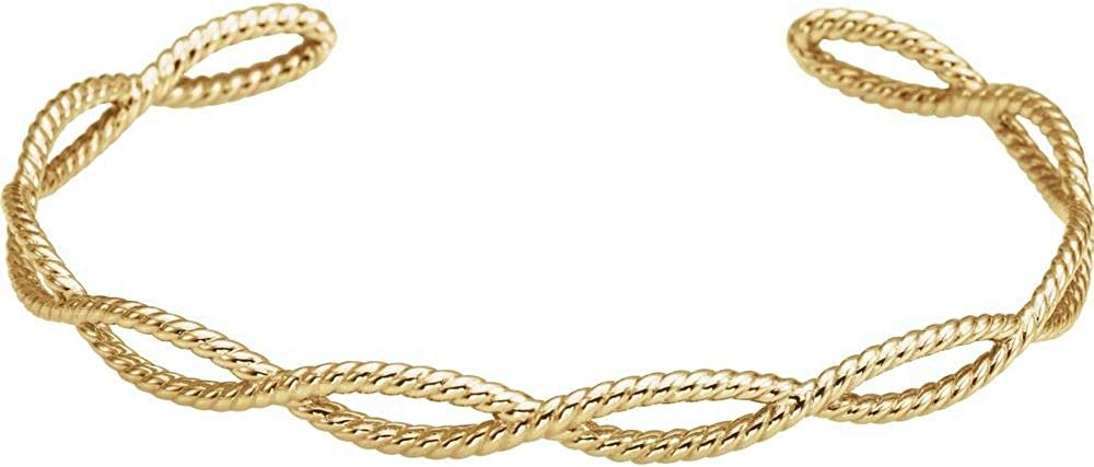 14k Direct store Yellow Mail order Gold Rope Bracelet Cuff