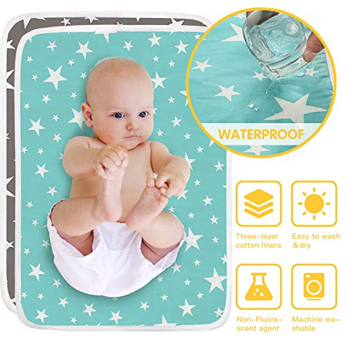 HyAdierTech 2 X Wasserdicht Wickelunterlage für Babys und Kleinkinder, Waschbar Inkontinenzauflage Wiederverwendbare Urin Matte Abdeckung, Atmungsaktiv, fürs fürs Jungen Mädchen50x70cm