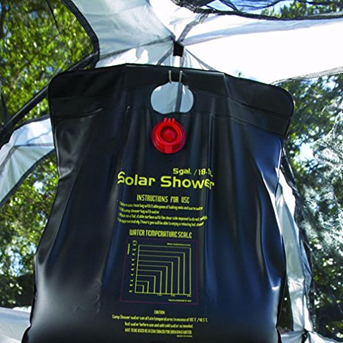 camping shower for adults Texsport 5 Gallon Outdoor Portable Solar Shower for Camping Hiking Backpacking , Black