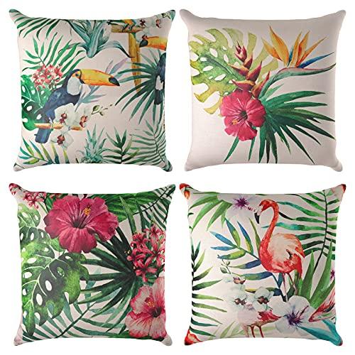 Jodimitty Juego de 4 fundas de cojín decorativas, 40 x 40 cm, diseño geométrico de flores, de algodón y lino, para sofá, hogar, decoración de oficina (flores de selva lluvia)
