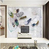 Ljjlm ファッションカラーフェザーアートレトロなアメリカのテレビの背景カスタム大フレスコグリーン壁紙パペルデパレード-200X150Cm