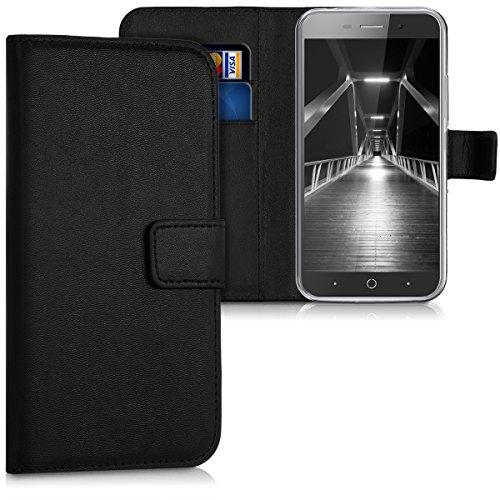 kwmobile Hülle kompatibel mit ZTE Blade A602 - Kunstleder Wallet Case mit Kartenfächern Stand in Schwarz