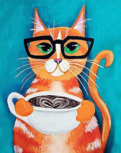 WCIAW Anfänger Digital Paint Oil Painting Kit Katze Trinken Kaffee Kunst Abstrakte Handgemalte Malvorlage Leinwand DIY Als Geschenk 16X20Inch