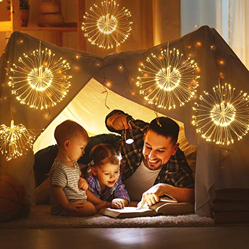 Firework Lights, Homga 4 Pack String Lights 600 LED Starburst Lights Copper Wire Lights, 8 Modes Battery Operated Fairy Lights with Remote, Waterproof Decorative Hanging Lights Party Garden Christmas 5