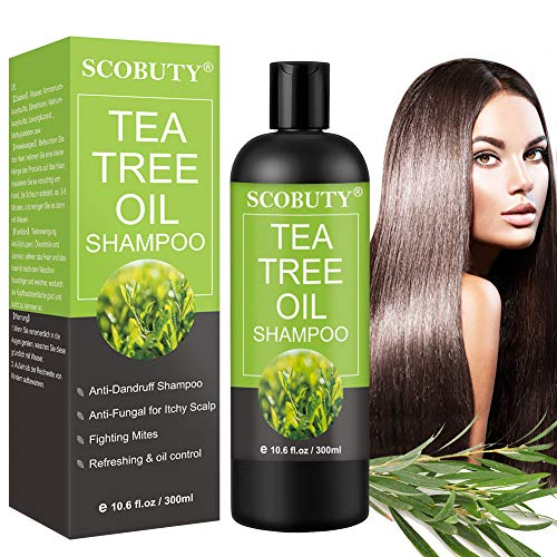 Shampoing Antipelliculaire,Tea Tree Oil Shampoing,Dandruff Shampoo,Dry Shampoo,Shampooing à l'huile de Théier Traitement pour les Acariens, les Cheveux Gras, le Cuir Chevelu Sec