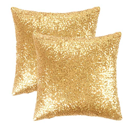 PONY DANCE Gold Sequin Stylish Throw Pillow Covers