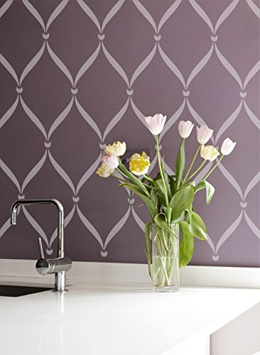 Ribbon Lattice Wall Stencil for DIY Painting Wallpaper Look