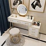 N/Z Living Equipment Tocador Mesa de Maquillaje en Dormitorio de niñas Tocador de Gran Capacidad Tocador con Espejo de Brillo Ajustable Juego de tocador 4 Tipos de taburetes Tocador Blanco para niñas