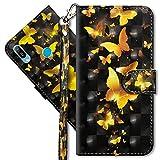MRSTER Huawei Y6 2019 Handytasche, Leder Schutzhülle Brieftasche Hülle Flip Hülle 3D Muster Cover mit Kartenfach Magnet Tasche Handyhüllen für Huawei Y6 2019 / Honor 8A. YX 3D - Golden Butterfly