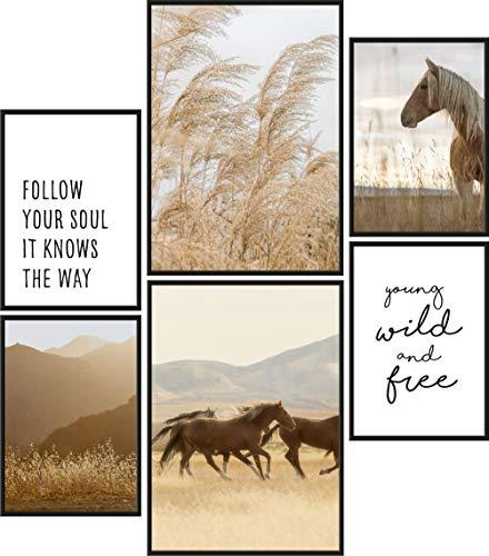Papierschmiede® Mood-Poster Set Wild and Free | 6 Bilder als stilvolle Wanddeko | 2X DIN A4 und 4X DIN A5 | Boha Pferde Weide Getreide - ohne Rahmen