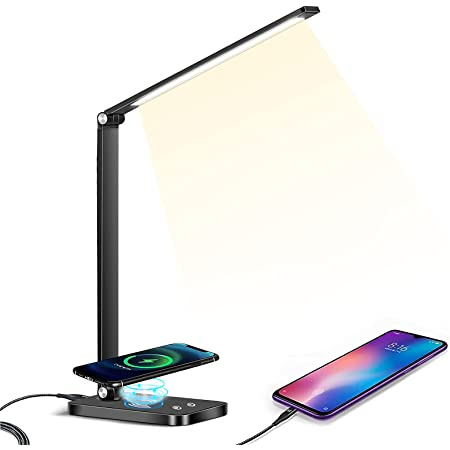 MDHAND Lampe de Bureau LED, Lampes de Bureau Dimmable 5 Modes de Couleur 10 Niveaux de Luminosité, Lampe de chevet Avec Port USB et Fonction Minuterie, Contrôle tactile, Économie d'énergie