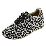 Zapatillas de Deportivos de Running para Mujer Moda con Estampado de Leopardo Zapatos Casuales Ligero Comodos Fondo Grueso 36-41riou