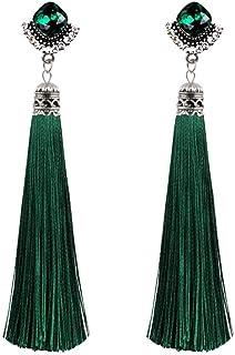 Niome Women Fashion Vintage Gems Crystal Long Tassel Earrings