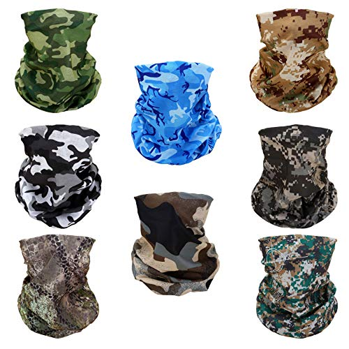 8 Stück Camouflage Multifunktionstuch Gesichtsmaske Motorradmaske Sturmmaske Maske für Motorrad Ski Snowboard Snowboard Paintball Fahrrad Bergsteigen Trekking Skateboarden Angeln