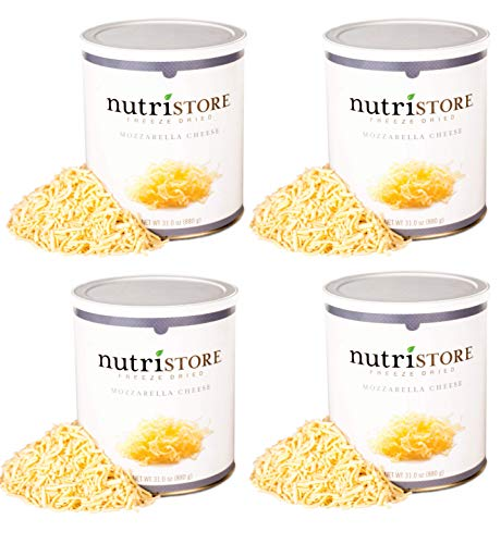 Nutristore Freeze Dried Mozzarella Cheese Shredded 4-Pack | 80 Large Servings | Premium Quality | Amazing Taste | Perfect for Camping | Survival Food