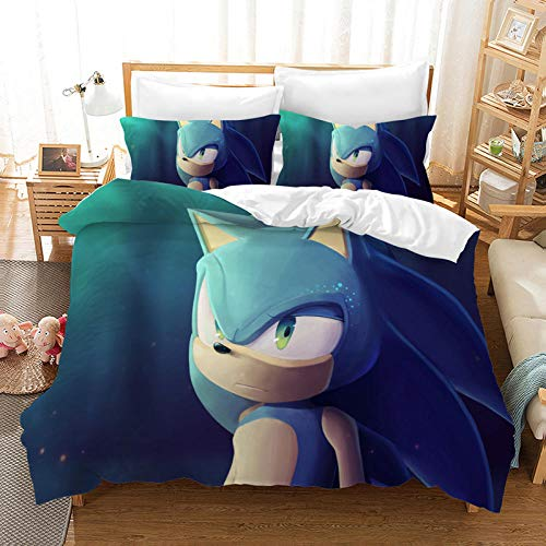 DTBDWOSY 3 Piece Soft Polyester Luxurious 3D Printed Duvet Cover Bedding Set Single With 2 Pillow Cases Zipper Closure For Kid- Comfortable, Breathable Blue Animal Fox 135X200 Cm