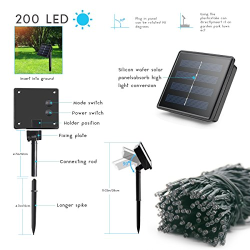 Lalapao 2 Pack Solar String Lights 72ft 22m 200 LED 8 Modes Solar Powered Xmas Outdoor Lights Waterproof Starry Christmas Fairy Lights for Indoor Gardens Homes Wedding Holiday Party (White)
