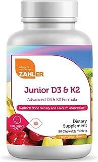 Zahler Junior D3 & k2 Chewable 2000IU, Kids Vitamin D with K2, Great Tasting Chewable Vitamin D 2000 IU, Certified Kosher,...